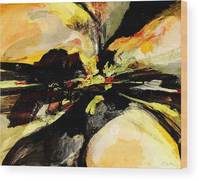 Abstract Abstractart  Red-orange-yellow-black  Wood Print featuring the painting Cataclysm by Edward Farber