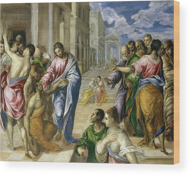 Bartimaeus Wood Print featuring the painting Christ Healing The Blind by El Greco
