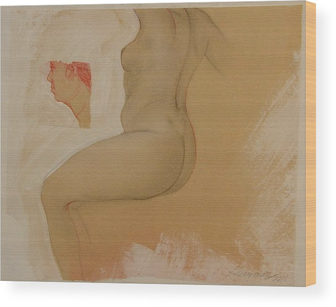 Female Nude Wood Print featuring the painting Composite Female Nude by Gary Kaemmer