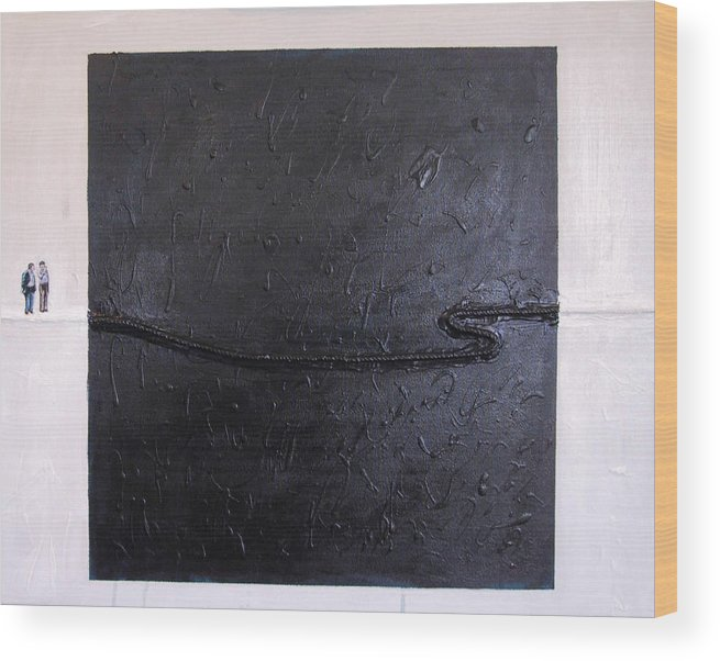 Modern Art Wood Print featuring the painting Explaining Modern Art Standing On An Elegant Line by Kevin Callahan