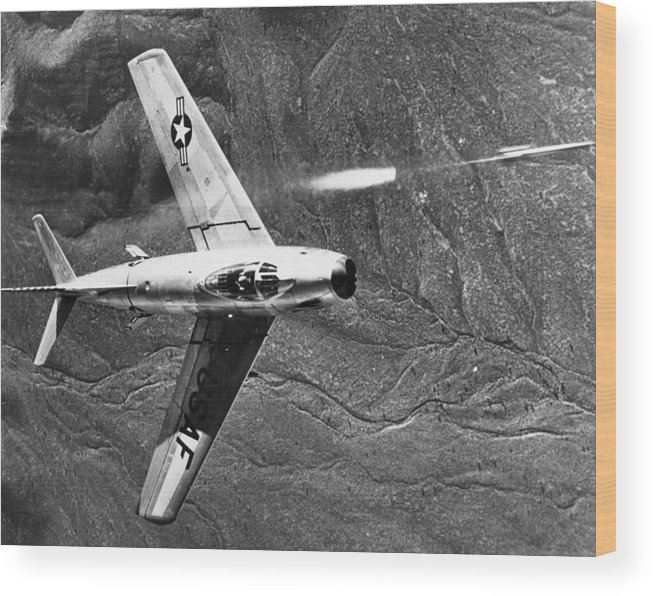 1951 Wood Print featuring the photograph F-86 Jet Fighter Plane by Granger