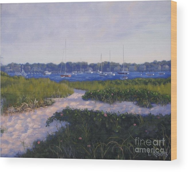 Landscape Wood Print featuring the painting Jetty Beach Path by Laura Roberts