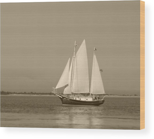 Ketch Wood Print featuring the photograph Ketch - Nantucket Harbor by Henry Krauzyk
