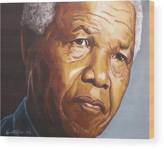 Portrait Wood Print featuring the painting Nelson Mandela by Kenneth Kelsoe