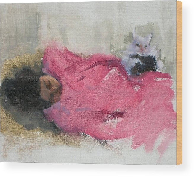Cat Wood Print featuring the painting Nicole And Josie by Merle Keller