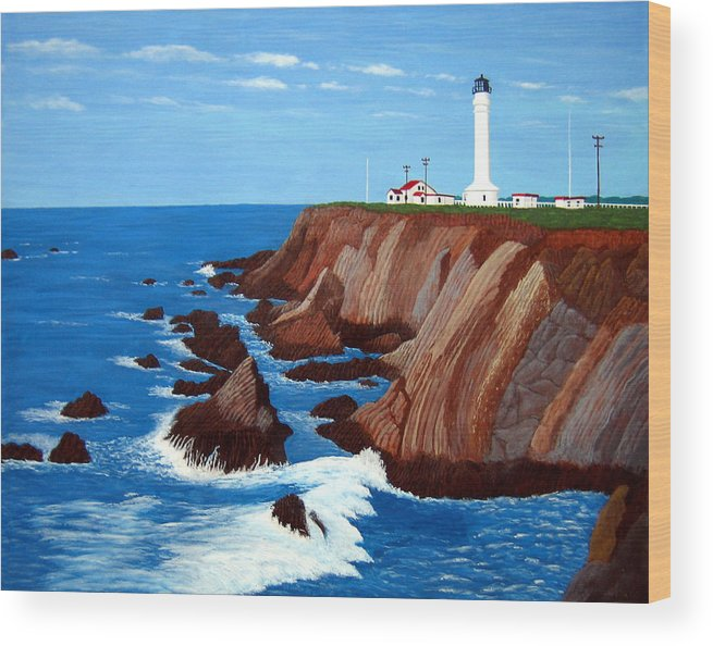 Lighthouse Paintings Wood Print featuring the painting Point Arena Light Station by Frederic Kohli