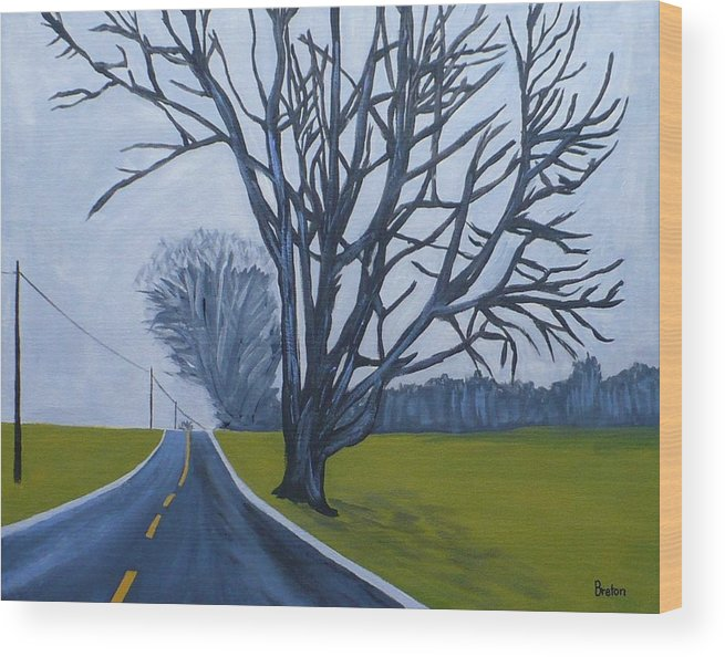 Maine Wood Print featuring the painting Sentinel by Laurie Breton