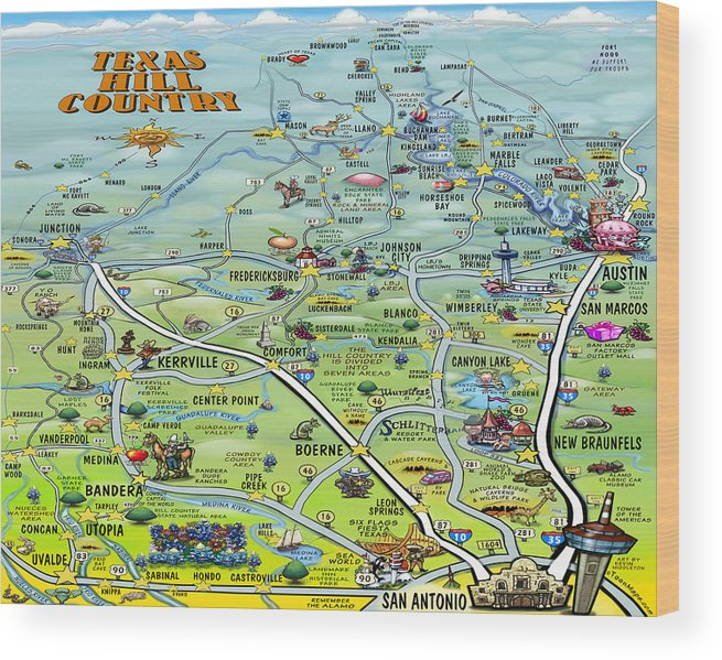 Texas Hill Country Cartoon Map Wood Print by Kevin Middleton