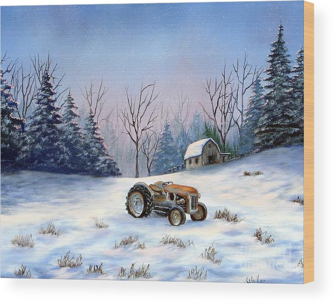 Landscape Wood Print featuring the painting Winter Rest by Jerry Walker
