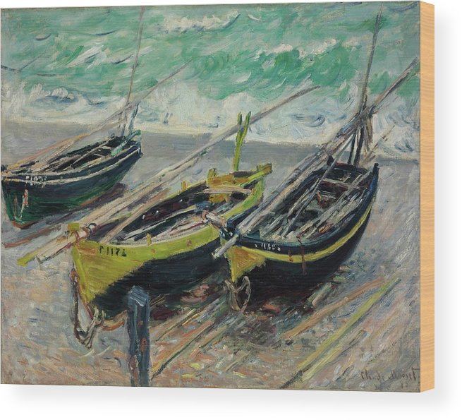 Claude Monet Wood Print featuring the painting Three Fishing Boats by Claude Monet