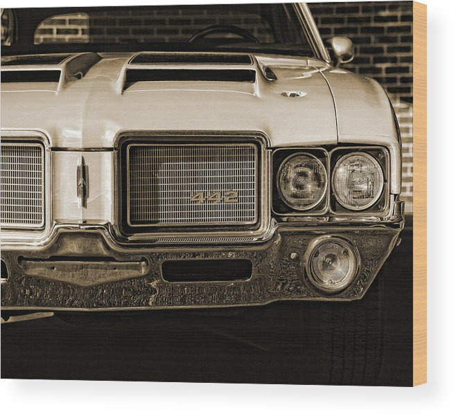 1972 Wood Print featuring the photograph 1972 Olds 442 - Sepia by Gordon Dean II