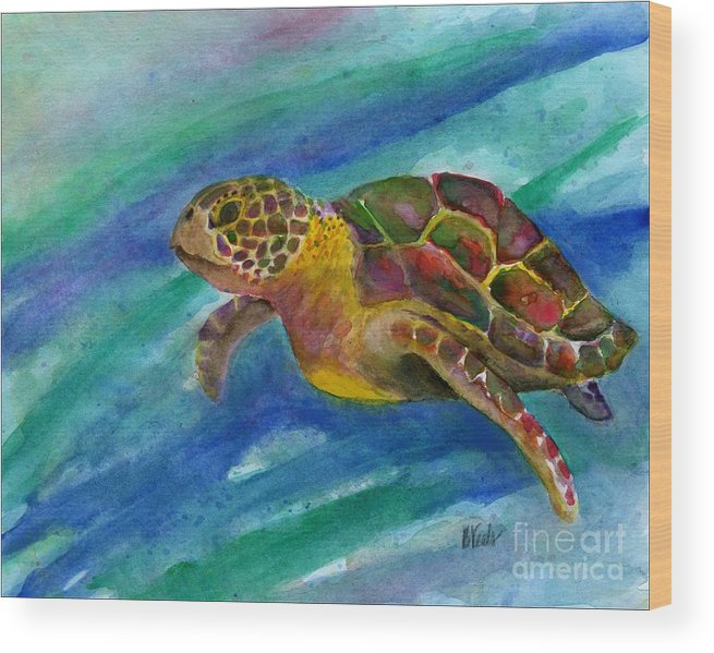 Sea Turtle Wood Print featuring the painting Sea Turtle by Bev Veals