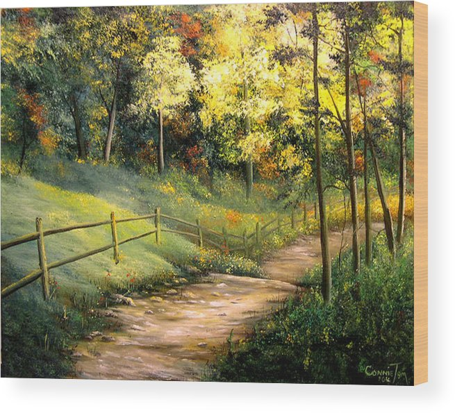 Connie Tom Wood Print featuring the painting The Pathway Of Life by Connie Tom