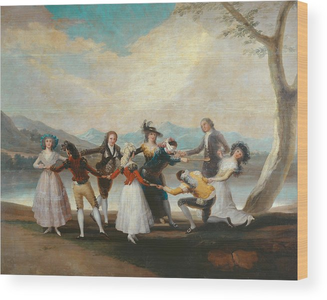 Arts Wood Print featuring the painting Blind Man's Buff by Francisco Goya