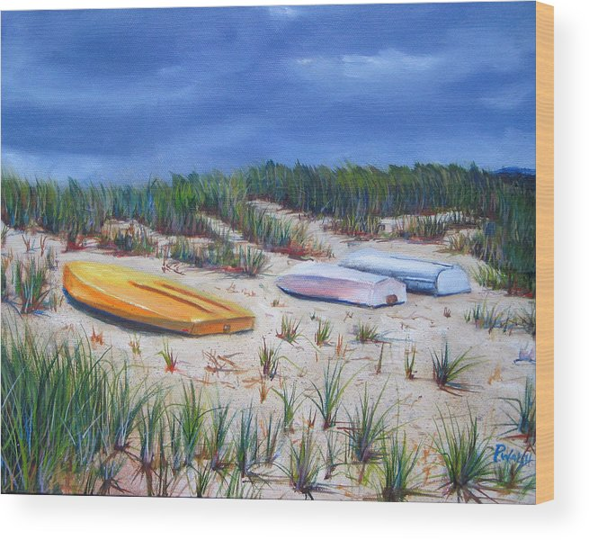 Cape Cod Wood Print featuring the painting 3 Boats by Paul Walsh