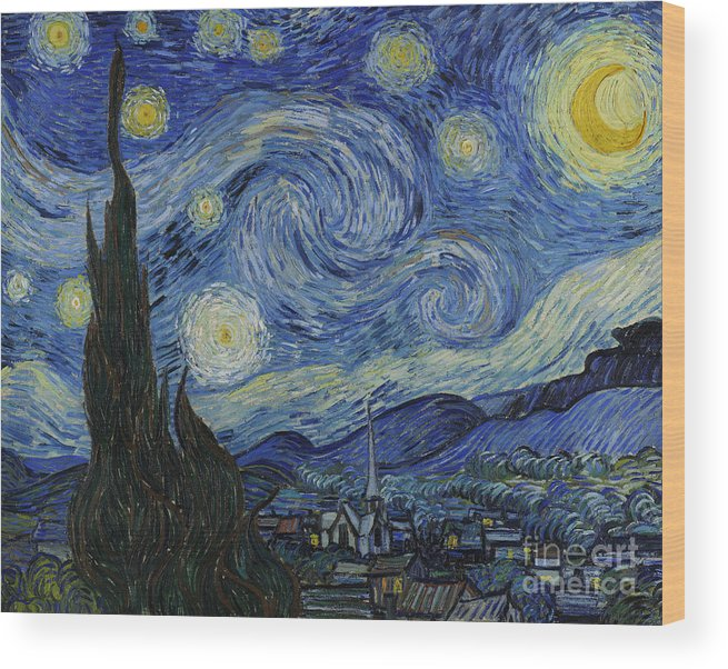 Vincent Wood Print featuring the painting The Starry Night by Vincent Van Gogh