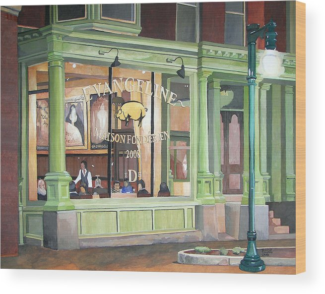 Restaurant Wood Print featuring the painting A Night At Evangeline by Dominic White