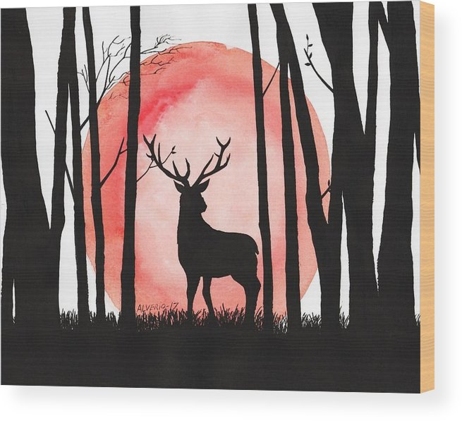 Reindeer Wood Print featuring the painting A Reindeer In The Woods by Edwin Alverio