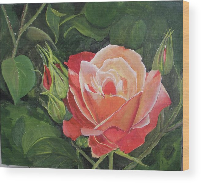Floral Wood Print featuring the painting A Rose by Betty-Anne McDonald