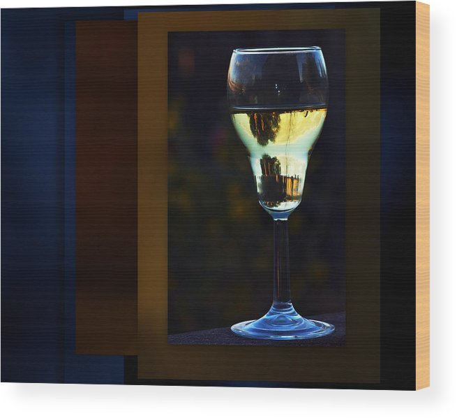Wine Wood Print featuring the photograph A Sataurne Sunset by Irma BACKELANT GALLERIES
