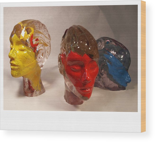 Face Wood Print featuring the sculpture Aesthetic Progression View 1 by Katherine Huck Fernie Howard