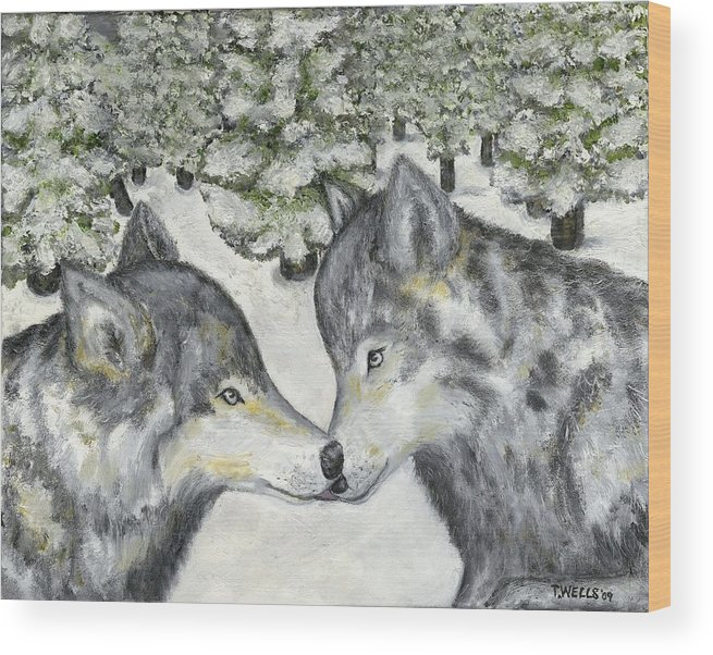 Wolves Wood Print featuring the painting Affection In The Wild by Tanna Lee M Wells