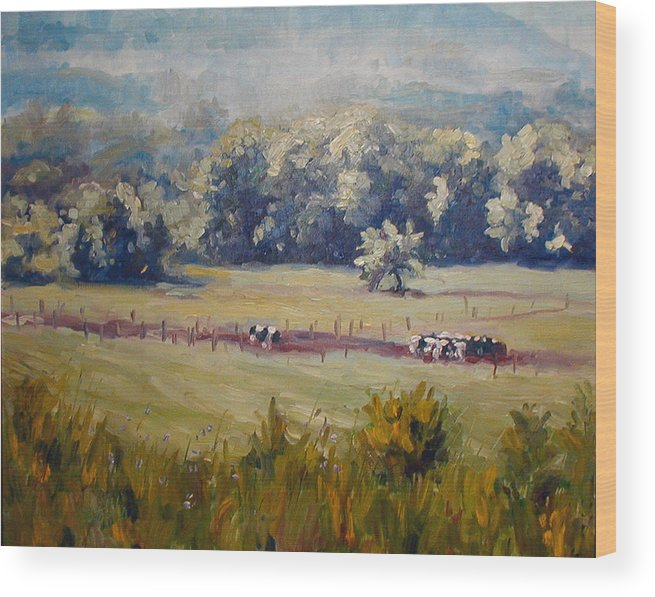 Landscape Wood Print featuring the painting After Morning Milking by Kathy Busillo