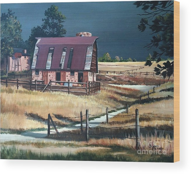 Scene Wood Print featuring the painting After The Storm by Suzanne Schaefer