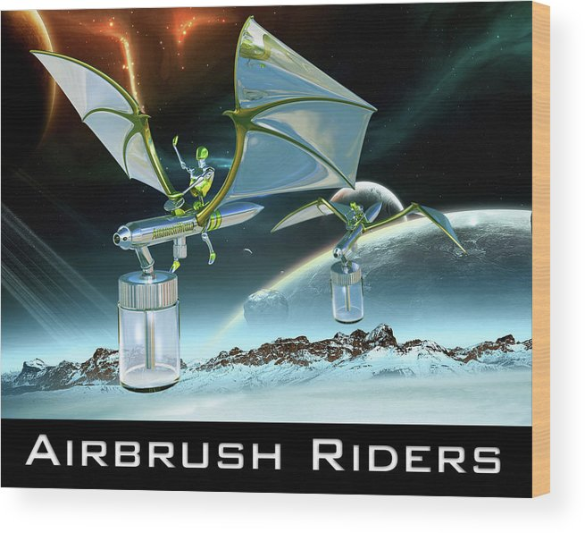 Landscape Wood Print featuring the digital art Airbrush Riders by John Los