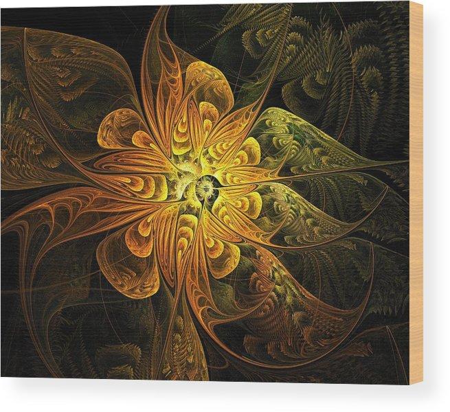 Digital Art Wood Print featuring the digital art Amber Light by Amanda Moore