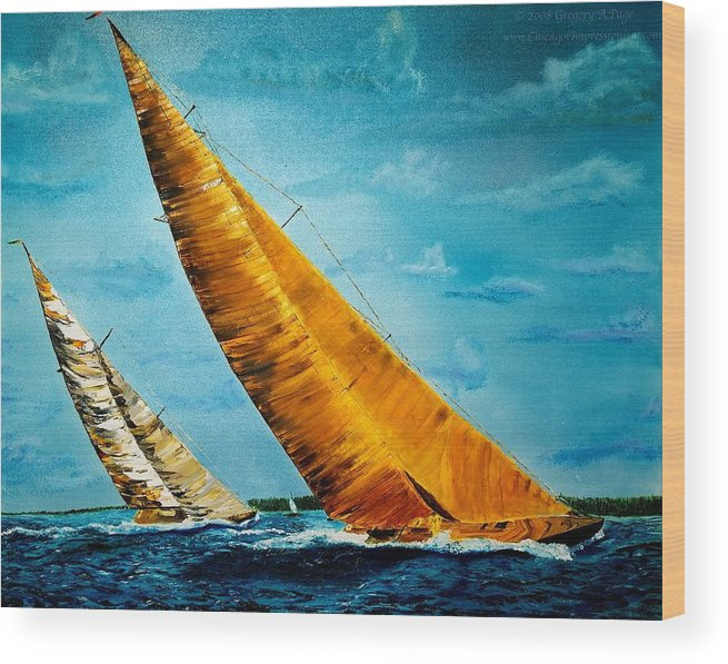 America Wood Print featuring the painting Americas Cup Sailboat Race by Gregory Allen Page