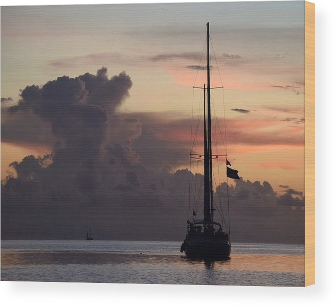 Sailboat Wood Print featuring the photograph Anchored by Aileen Foust
