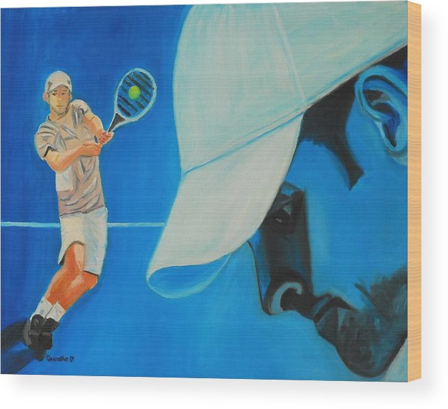 Andy Wood Print featuring the painting Andy Roddick by Quwatha Valentine