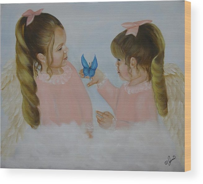 Oil Paintings Wood Print featuring the painting Angels With Wings by Joni McPherson