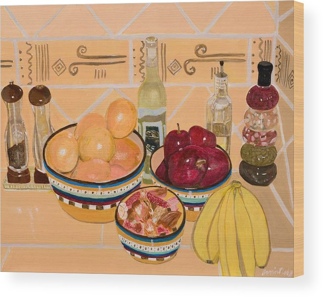 Still Life Wood Print featuring the painting Apples Oranges And Bananas by Arvin Nealy