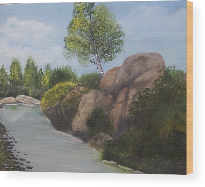Landscape Wood Print featuring the painting Around The Bend by Roger Rambo