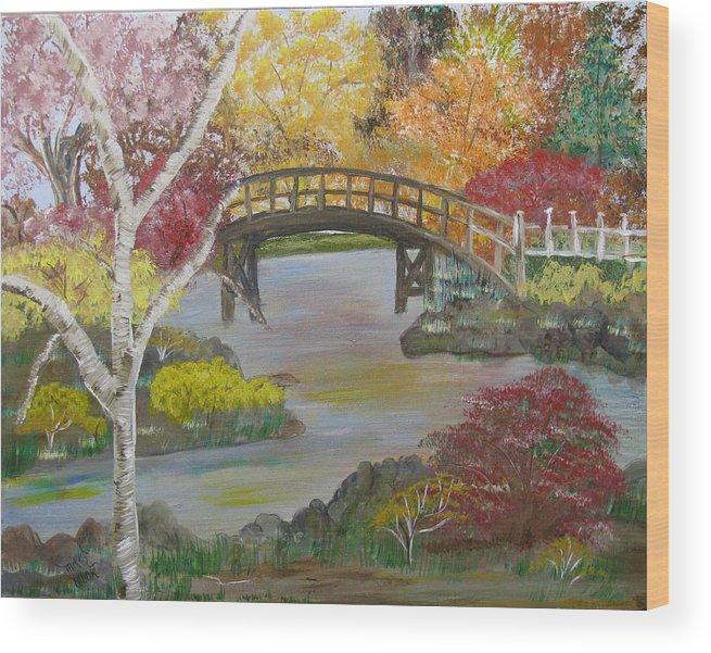Landscape Wood Print featuring the painting Autum Bridge by Mikki Alhart