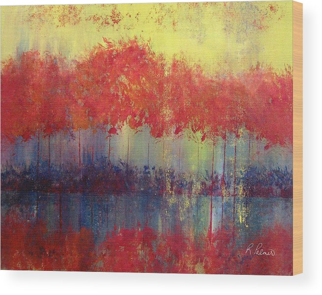 Abstract Wood Print featuring the painting Autumn Bleed by Ruth Palmer