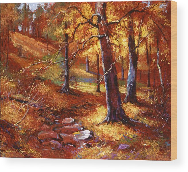 Landscape Wood Print featuring the painting Autumn Color Palette by David Lloyd Glover