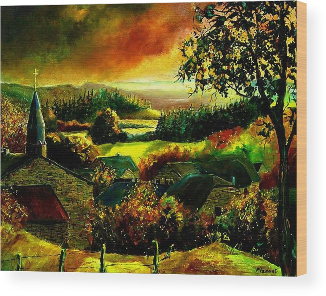 Landscape Wood Print featuring the painting Autumn In Our Village Ardennes by Pol Ledent