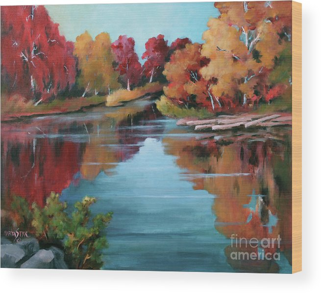 Landscape Wood Print featuring the painting Autumn Reflexions 1 by Marta Styk