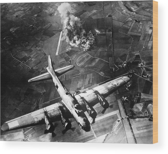 B 17 Wood Print featuring the photograph B-17 Bomber Over Germany by War Is Hell Store