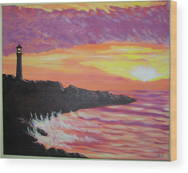 Seascape Wood Print featuring the painting Bahia At Sunset by Marco Morales
