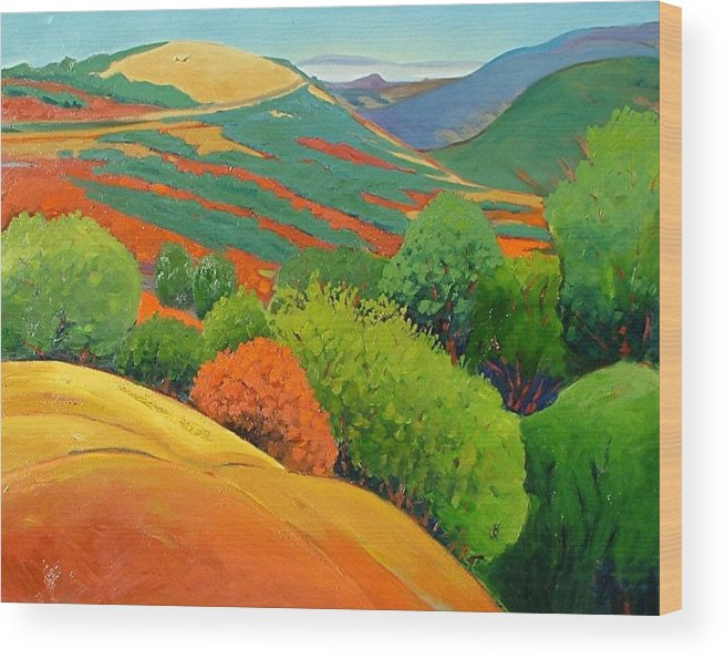 California Landscape Wood Print featuring the painting Bald Hill by Gary Coleman