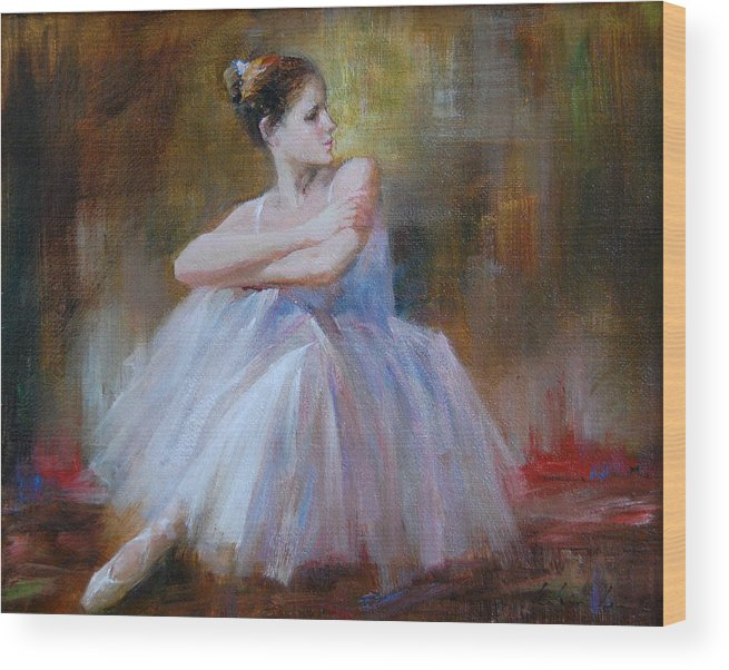 Figuratives Wood Print featuring the painting Ballerina E by Kelvin Lei