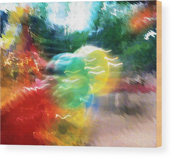 Baloons Wood Print featuring the painting Baloons N Lights by Anil Nene