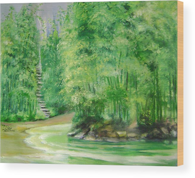 Landscape Wood Print featuring the painting Bamboo Forests 1 by Lian Zhen