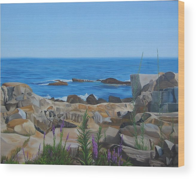 Seascape Wood Print featuring the painting Bass Rocks Gloucester by Lea Novak