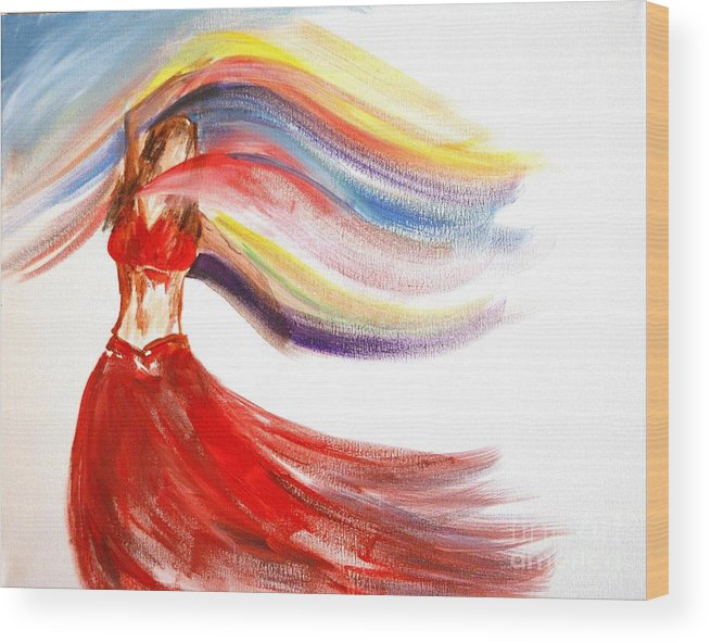 Belly Dancers Wood Print featuring the painting Belly Dancer 2 by Julie Lueders