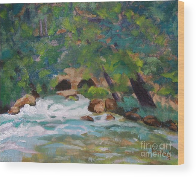 Impressionistic Wood Print featuring the painting Big Spring On The Current River by Jan Bennicoff